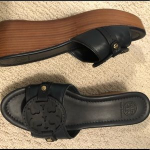 Tory Burch Navy Slide Wedges (size 8.5)